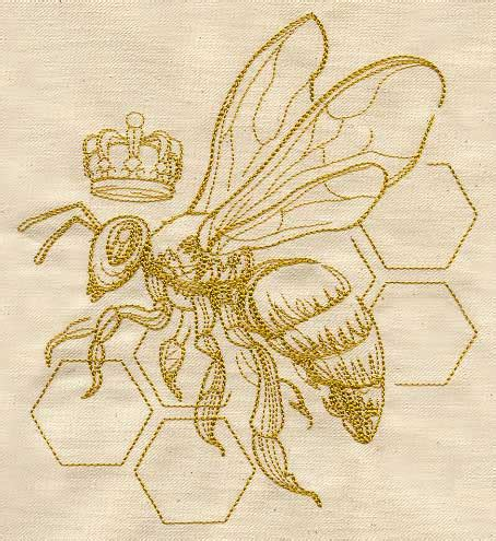 pattern bee vintage embroidery queen bee urban threads unique and awesome embroidery