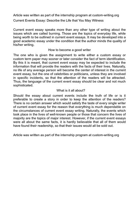 Current Topic Essay 8 tips for crafting your best current event essays