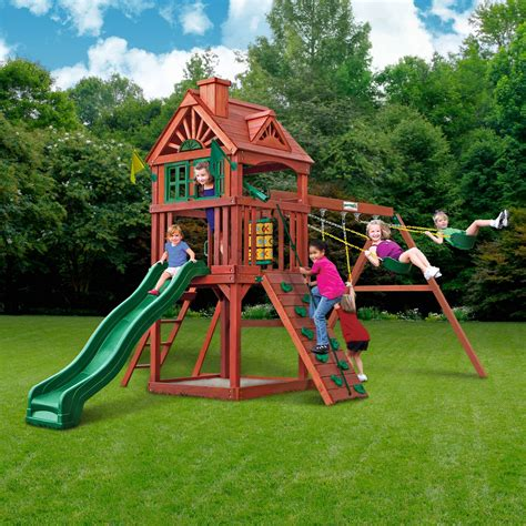 swing sets and playsets gorilla playsets landing cedar wooden swing set walmart