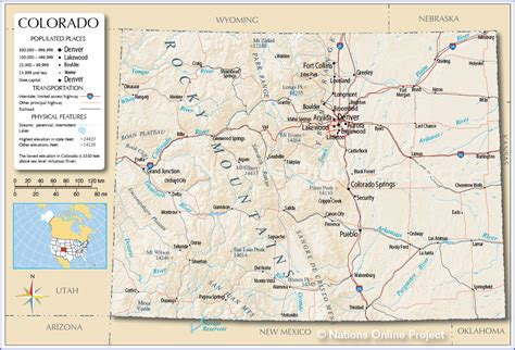 map denver colorado colorado map of us my