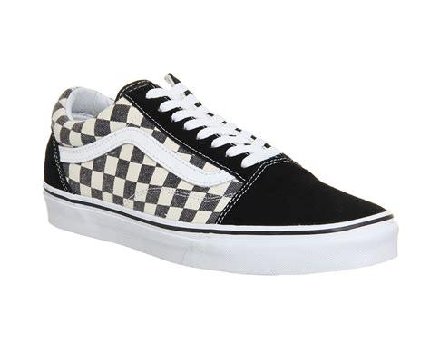 Sepatu Vans Oldskool Checkerboard Black White mens vans skool checkerboard black espresso trainers