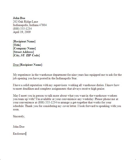 warehouse cover letter exles warehouse cover letter sles best letter sle