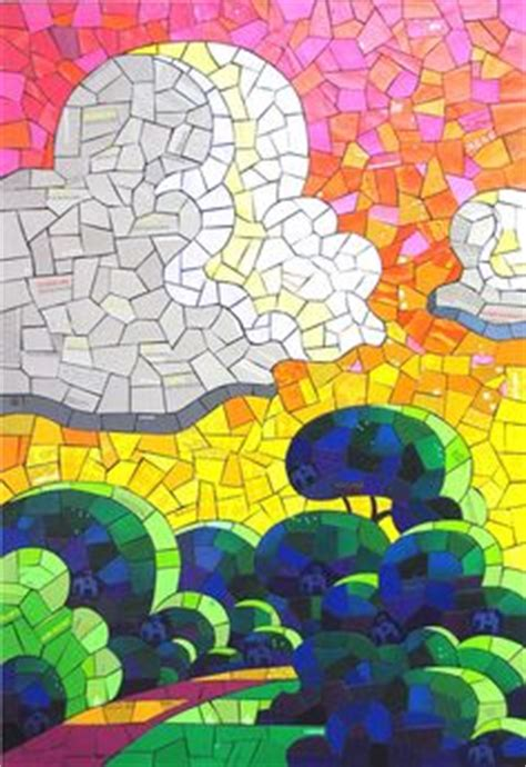 How To Make A Paper Mosaic Collage - paper mosaic aquarelle mix medias on paper