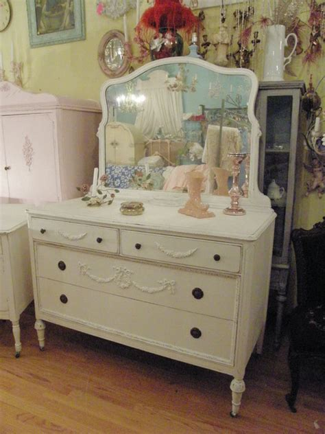 Vintage Bedroom Dresser by Antique Dresser White Shabby Chic Distressed Appliques