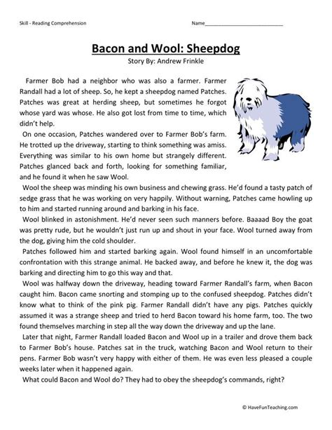 Comprehension Worksheet by Reading Comprehension Worksheet Bacon And Wool Sheepdog