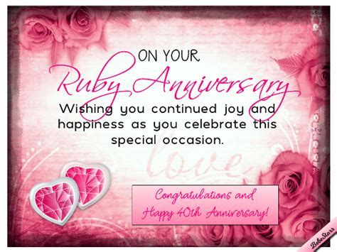 Ruby Anniversary Wishes. Free Milestones eCards, Greeting