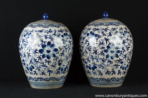 Porcelain Vases And Urns by Pair Blue And White Porcelain Ming Urns Vases