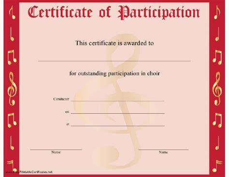 choir participation certificate printable certificate