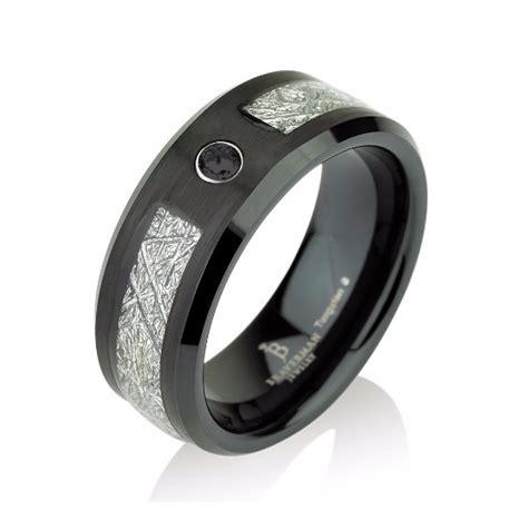 black mens meteorite wedding band black diamond mens