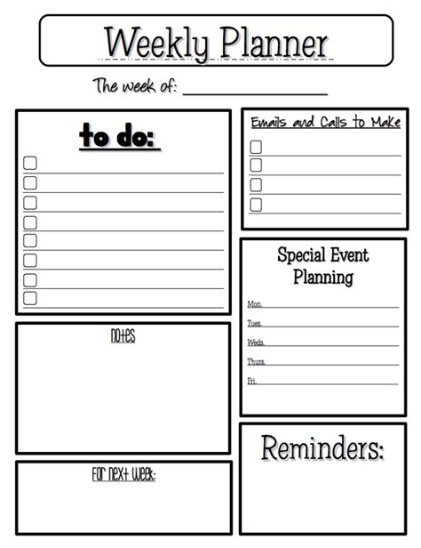 printable weekly activity planner the best of teacher entrepreneurs free misc lesson