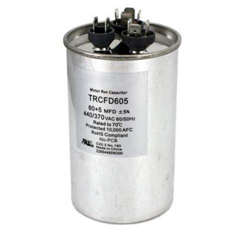 440 volt dual run capacitor packard 440 volt 60 5 mfd dual motor run capacitor trcfd605 the home depot