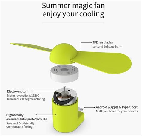 Wsken Kipas Mini Portable Micro Usb Lightning wsken portable mini fan micro usb lightning type c
