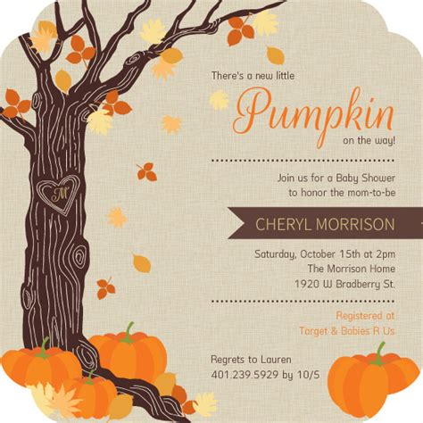 Rustic Autumn Leaves Halloween Baby Shower Invitation Fall Baby Shower Invitation Templates