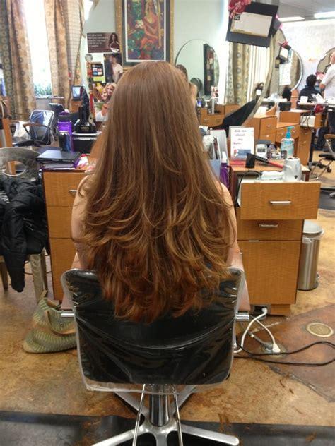 long long hair w lots layers and bangs beautiful long red hair full bangs lots of layers by