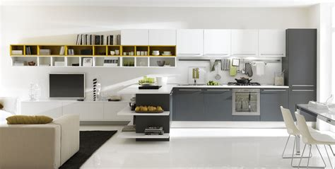 White Grey Kitchen by Open Modern Kitchens With Few Pops Of Color