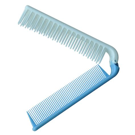 Foldable Hair Comb travel skyblue coarse teeth folding dual hair brush pocket