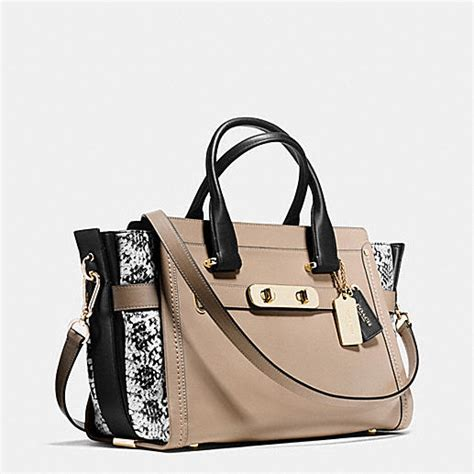 Coach Swagger 27 In Smooth Leather Black coach designer handbags coach swagger in colorblock