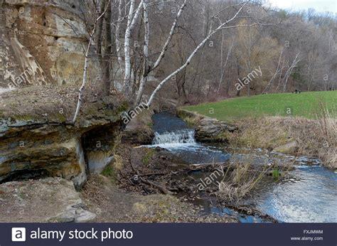 battle creek park battle creek regional park flowing rocks and bluffs surrounded stock photo