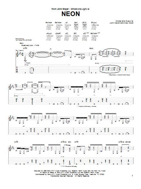 john mayer comfortable tab neon sheet music direct