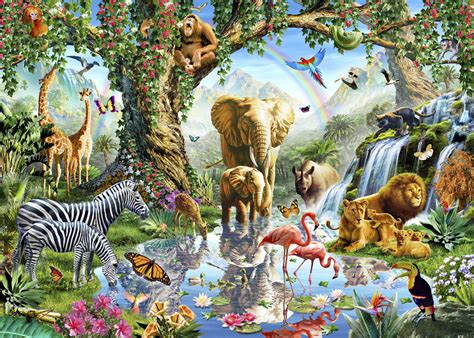 animal jungle jungle lake with animals wall mural photo