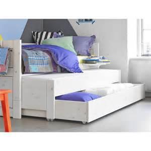 lit gigogne avec tiroir de rangement blanc de chaux
