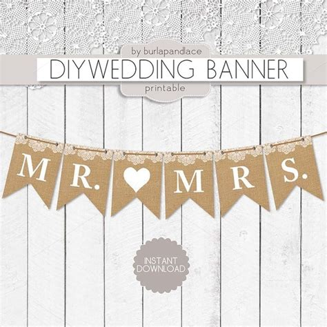 free templates for wedding banners mr and mrs burlap digital banner illustrations on