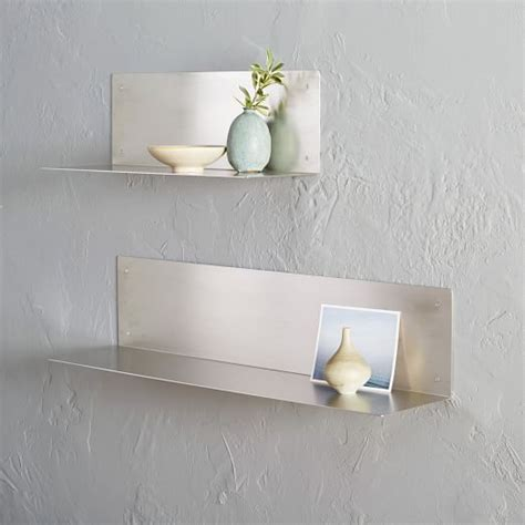 floating l shelves stainless steel west elm