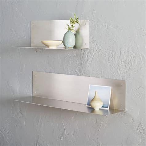 floating stainless steel shelves floating l shelves stainless steel west elm