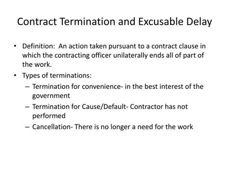 cancellation letter definition ppt contract termination and excusable delay powerpoint