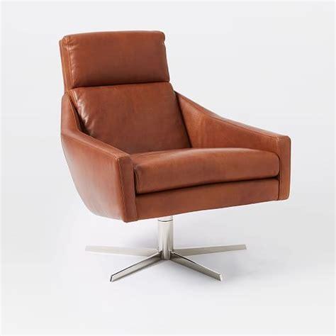 leather swivel armchairs austin leather swivel armchair west elm