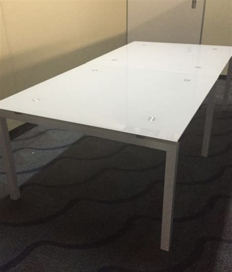Metal Conference Table Legs 6 8 Foot Rectangular Glass Conference Table With White Metal Legs Direct Office Solutions