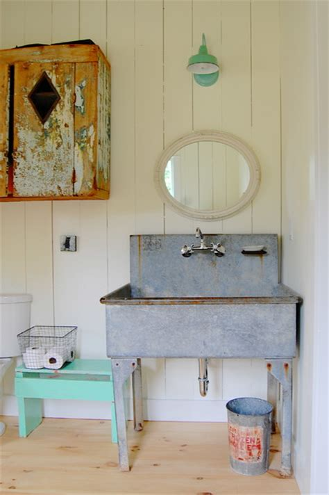 farmhouse chic bathroom my houzz colorful vintage finds fill a chic modern
