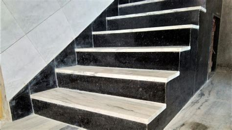Granite Stairs Design How Look Black And White Indian Marble And Granite Staircase Design