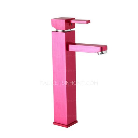Pink Bathroom Fixtures Colored Pink Heightening Square Shaped Bathroom Faucets