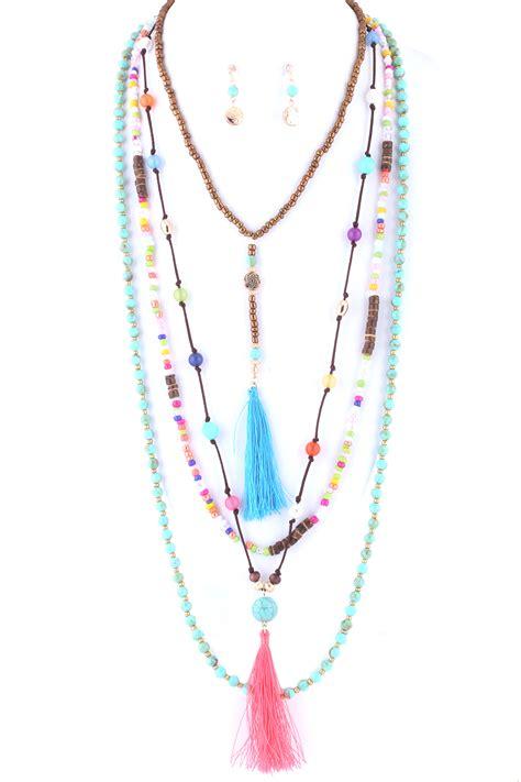 multi layer bead tassel necklace set necklaces