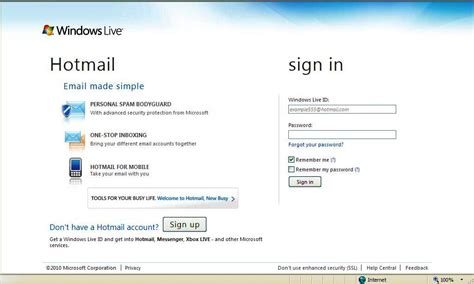 email hotmail hotmail login