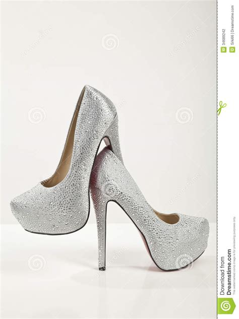 white silver high heels shoes stock photography image 34689242