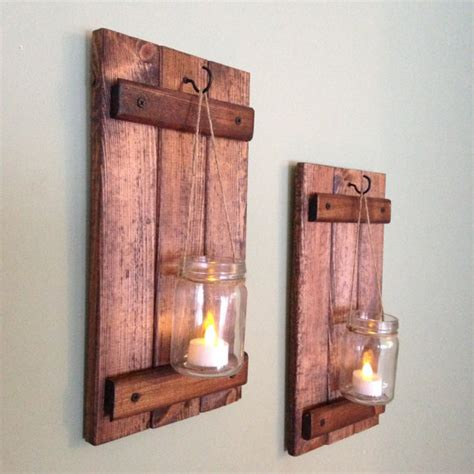 Rustic Wall Decor Wooden Candle Holder Rustic Mason Jar Candle Holders Wall Decor