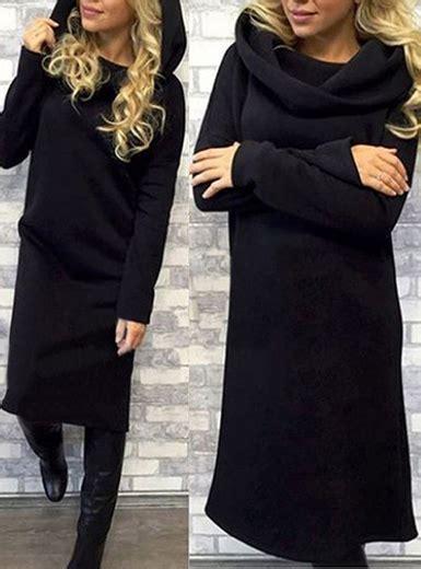 Hooded Midi Dress s hooded midi dress black