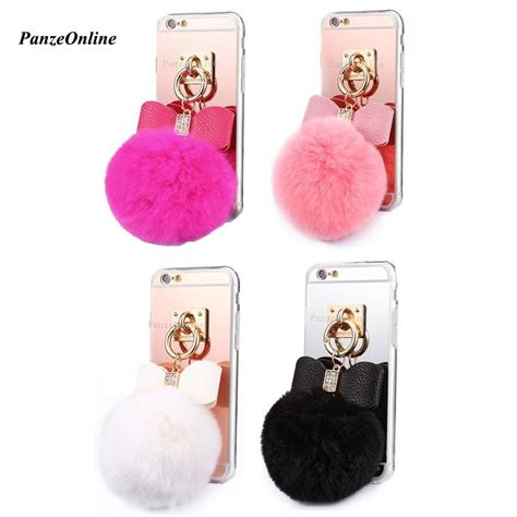 Iphone 6 6s Soft 3d Rabbit Fur Plush Flurry Sarung Casing mirror fluffy rabbit fur plush soft tpu for