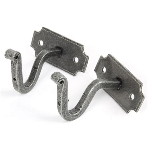 brackets for curtain pole pewter curtain pole mounting brackets pair from period