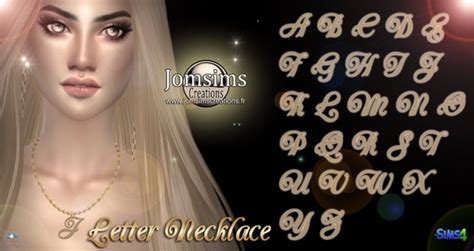 letter necklace  jomsims creations sims  updates