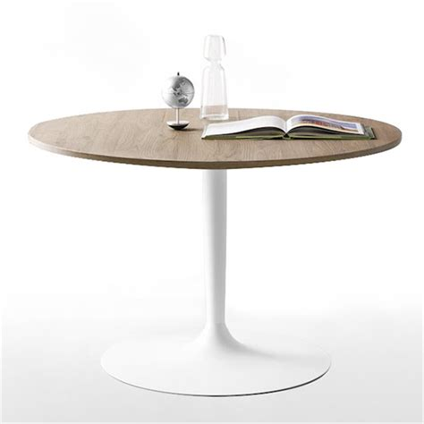 table de cuisine pied central table ronde design plateau bois pied blanc cdc design