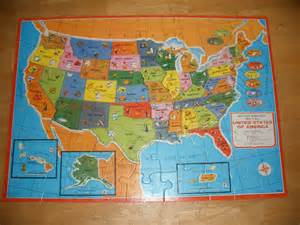vintage wooden united states wooden puzzle map with world map