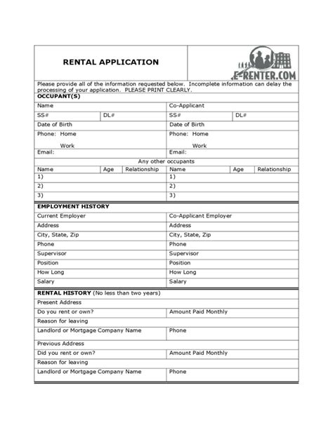 Sle Rental Application Form Free Download Domain Lease Agreement Template