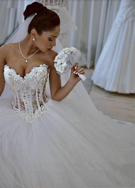 hochzeitskleid corsage glitzer sparkly crystal ball gown corset wedding dress with