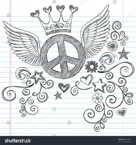 doodle sign in handdrawn sketchy peace sign doodle stock vector