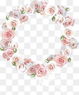 rose border rose pink flowers circles png