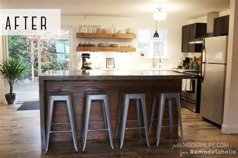 Kitchen Cabinets Stain Or Paint by Remodelaholic Diy Concrete Kitchen Island Reveal How To