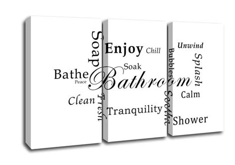 bathroom text bathroom tranquility white text quotes 3 panel canvas 3